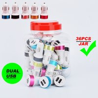 Wholesale Any Sharp - dual usb car charger 2.1A in plastic jar charger any mobile phone with colorful frame wall adapter two usb port