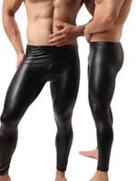 deri pantolon erkek toptan satış-Moda Erkek Siyah Sahte Deri Pantolon Uzun Pantolon Seksi Ve Yenilik Skinny kas Tayt Erkek Tozluklar Slim Fit Sıkı Erkekler Pant M-2XL