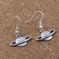 Wholesale planets saturn - Hot ! 20 pair Antique silver *CUTE PLANET SATURN * Charms Earrings With Fish hook Ear Wire