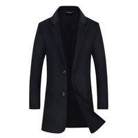 avrupa adamı uzun ceket toptan satış-Ücretsiz Kargo Avrupa Tarzı Erkekler 70% Yün Palto Kış Uzun Casual Rüzgarlık Slim fit Erkekler Yün Coat Gri Siyah Manteau Homme