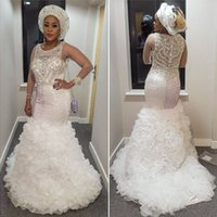Wholesale sparkle tulle dress - Sparkle Mermaid Evening Dresses Sheer Neck Long Sleeves Beading Tiered Tulle Plus Size Prom Dresses Bling White Aso Ebi Evening Gowns