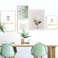 Wholesale palms pictures - Nordic Decorative Palm Flower Personality English Canvas Painting Poster And Print Art Picture Wall Living Room Home Decor Mural