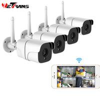 kablosuz ses güvenlik sistemi toptan satış-Wetrans Kablosuz Güvenlik Kamera Sistemi 1080P IP Kamera Wifi SD Kart Açık 4CH Ses CCTV Sistemi Video Gözetim Takımı Camara