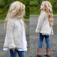 abrigo largo de invierno para niñas al por mayor-Winter Kids Girls Capa de manga larga Suéteres Prendas de punto gris Escudo Suéter Tops Ropa Ropa 1-8Y