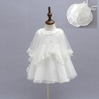 Wholesale Baby Girl Dress 3pcs - 2015 Newborn Baby Christening Gown Infant Girl's White Princess Lace Baptism Dress Toddler Baby Girl Chiffon Dresses 3pcs set