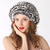 knitted rex rabbit fur hat 2018 - New Genuine Rex Rabbit Fur Hat Knitted Rabbit Fur Cap Real Headwear Winter Cap Free Shipping TBNT888
