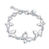 pulseras de bajo precio del encanto al por mayor-¡El mejor regalo! Pulsera de mariposa 925 pulsera de plata JSPB555; mujer de bajo precio chapado en plata esterlina pulseras de dijes