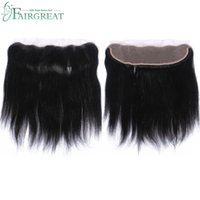 Wholesale weave front closure - Peruvian Straight Human Hair 4 Bundles With Lcae Closure 13*4 Human Hair Bundles With Lace Front Closure Natural Blacek Color Can Be Dyed