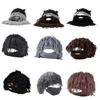 bonnets moustache achat en gros de-Drôle Moustache Beanies Enfants Adulte Xmas Cosplay Party Caps Nouvel An Chaud Hiver Tricoté Perruque Barbe Chapeaux Cadeaux De Noël P20