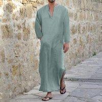 1e83e90283 arab robes NZ - S-3XL 2018 Men Full Length Kaftan 100% Cotton Loungewear