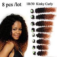 demetleri saçları demetler toptan satış-Glamorous Remi tam paket saç paketler için 8 adet başına ombre kahverengi sarışın siyah kadınlar için brezilyalı natrual derin örgü kinky kıvırcık uzatma
