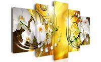 moda duvar resimleri toptan satış-Beyaz Canlı Çiçek Elmas Boyama Zambak Çiçek Modern Resim Duvar Dekor Sarı Arka Plan Moda Sanat Çerçeveli