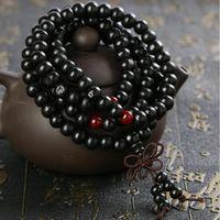 bilezik rosary boncuklar sandal ağacı toptan satış-Doğal 108 * 8mm Sandal Ağacı Budist Buda Meditasyon Boncuk Bilezikler Kadınlar Erkekler Takı Için Namaz Boncuk Mala Tesbih Bilezik
