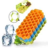 haciendo cubitos de hielo al por mayor-Multi-Color de Silicona Bandeja de Cubitos de Hielo Congelación de Moldes Bandeja de Cubitos de Hielo Caja de fabricación de Hielo de nido de abeja Molde Para Bar Party Herramientas T2I274