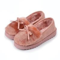 zapatillas de invierno para el hogar al por mayor-Zapatos de plataforma de invierno de las mujeres al aire libre zapatillas de casa de invierno diapositivas de piel de invierno casa sandalias borrosas señoras lindos mocasines arco 2019