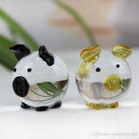 ingrosso ornamenti in miniatura-K9 Crystal Pig Figurine Miniature Miniature per animali in miniatura per la casa Decorazione Fengshui Artigianato Ornamenti carini