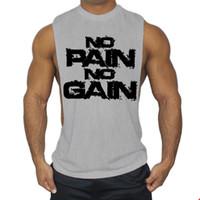 combinaison d'entraînement en coton achat en gros de-2019 Nouveau bodybuilding gilet hommes large fourche fitness sport chemise vêtements muscles exercice coton gilets T-shirt survêtement