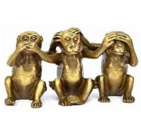 Wholesale brass block resale online - FENG SHUI Three wise monkeys hear see speak no evil monkey