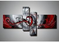 kanvas yağlıboya siyah kırmızı toptan satış-100% El Boyalı Siyah Beyaz Kırmızı Tuval Sanat Grubu Yağlıboya 4 Paneller Duvar Sanatı Yüksek Kalite coml409