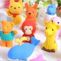 Wholesale cute animal erasers resale online - 30 Style Mix Lovely Cartoon Animals Pencil Eraser Cute Rubber Correction Erasers Student Stationery School Supplies Kids Gift Promotion