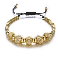 charme nieten großhandel-Geometrische Faced Crystal Nieten Charme Armbänder Für Frauen Männer Kupfer Perlen Armbänder Männlichen Accessoires Pulseira Masculina
