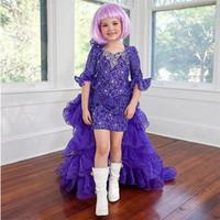 vestidos de niña de flores de manga púrpura al por mayor-Precioso vestido de abalorios de encaje morado Vestidos de desfile Vestidos de media manga Vestidos de niña de flores con volantes Volantes Vestidos de fiesta infantil