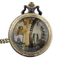 london quarzuhren großhandel-TIEDAN Mode Neue Ankunft Hohl Meter Abdeckung London Riesenrad Design Anitique Halskette Taschenuhr für Unisex Retro Uhren