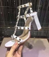 Wholesale Wholesale Leather Roman Sandals - new luxury designer sandal sandalias brand Leather Women Stud Sandals Slingback Pumps Sexy Fashion open-toe rivets Roman High Heels