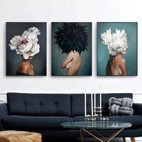 Wholesale modern girls abstract paint for sale - Group buy Modern minimalist sexy girl feather characters abstract posters and prints wall art canvas painting living room decoration