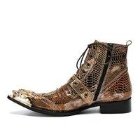 homens de pele de cobra homens venda por atacado-Botas de pele de cobra do tornozelo dos homens estilo ocidental botas de ouro Chaussure Homme de Metal do ouro do dedo do pé Lace-up homens botas curtas