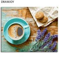 café emoldurado da pintura venda por atacado-Drawwjoy quadro imagem diy pintura by numbers pintura a óleo de café pintura caligrafia home decor 40 * 50 centímetros gx21514