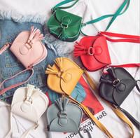 ingrosso borse per bambini-Ragazze mini borsa nappa bambino bambini borse a tracolla borsa di colore caramelle bambini in pelle Pu Hangbags croce
