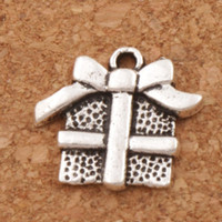 bogencharme für armbänder groihandel-Weihnachtsgeschenkbox Mit Band Bogen Charme Perlen 120 teile / los Anhänger Modeschmuck DIY Fit Armbänder Halskette Ohrringe L394