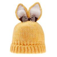 ingrosso cappelli coniglietto neonato-Cappello per neonato Cappello con orecchie di coniglio adorabile Cappello lavorato a maglia di lana per bambina