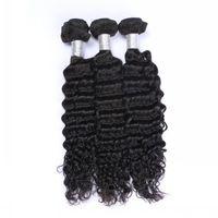 Wholesale human hair wefts deep waves for sale - 9A Brazilian Hair Bundles Deep Wave Unprocessed Peruvian Indian Malaysian Cambodian Virgin Deep Wave Human Hair Weaves Deep Curly Wefts