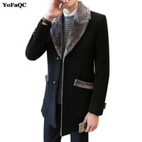 Wholesale trench coat men s fashion - Wholesale- 2017 New Fashion Brand Men Winter Jacket Single Breasted Slim Fit Mens Pea Coat Casual Men Long Coat Trench Hombre XXXL