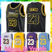 best sneakers a5d1a 2d580 23 LeBron James Jersey 2018 Pescaggio Los Angeles Lakers LeBron James Oro  Giallo Viola Bianco Nero la città Maglie basket