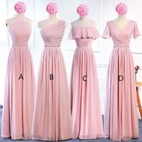 allık uzun şifon elbisesi toptan satış-Allık Pembe Şifon Uzun Gelinlik Modelleri Lace Up 2019 Bohemian Nedime Elbisesi Kat Uzunluk Düğün Konuk Elbiseleri