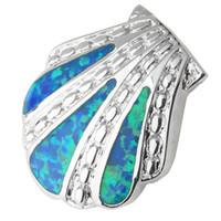 Wholesale rare shells - RARE Shell 25*30mm Blue Fire Opal Silver Handmade Animal Pendant P9064