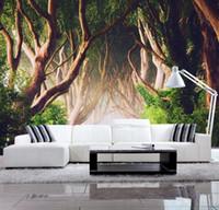 birkenwald tapete großhandel-3d wallpaper grünen wald birke landschaft tv hintergrund wand papel de parede wallpaper für wände 3 d foto wandbild