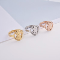 Wholesale o rings jewelry - 2018 Hot Factory Design O Urso Anillo Stainless Women round panda Rings Size 6.7.8.9 Cute hollow Rings good quality no fade jewelry 3 style