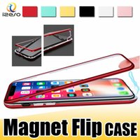 Wholesale magnets iphone resale online - Luxury Magnet Adsorption Phone Case for iPhone X Magnetic Flip PC Frame Cover Built In Tempered Glass for iPhone Plus