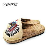 Wholesale chinese high heels - HYFMWZS High Quality Fashion 2017 Chinese Style Handmade Sandals Slippers For Women Shoes Summer Slippers Zapatos Mujer 35-40