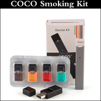 Wholesale coco wholesale - COCO SMOKING 220mAh Ultra Portable Vape Pen Starter Kit for JUUL VII Vapor pod Cartridge starter kit New arrived kit