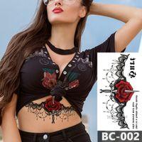 hoja de tatuaje temporal del cuerpo al por mayor-1 Hoja de Pecho Cuerpo Tatuaje Temporal A Prueba de agua Joyería Rosa encaje Encaje Calcomanía flor Cintura Art Tattoo Sticker para Mujeres