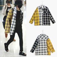 otoño abrigo corea al por mayor-Nueva blusa BTS de manga larga para hombre Camisas Bangtan Boys SUGA Camisa unisex de Corea Fashion Plus Size Spring Autumn coat