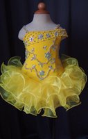 Wholesale Infant Christmas Pictures - Gorgeous Flower Girl Dress Lovely Yellow Glitz Little Girl Pageant Dress Spaghetti Straps Crystal Beaded Ruffle Short Kids Infant Party Gown