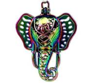 medallones indios al por mayor-Color del arco iris indio Elefante perlas jaula joyería haciendo aceite esencial difusor perla jaula Lucky Locket colgante A56