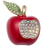 kırmızı çiçek broş toptan satış-Toptan CZ Büyük Kırmızı Elma Kübik Zirkonya Emaye Çiçek Pin Broş Takı Sevimli Moda Kadınlar Doğum Günü Hediye Anne Onu Dropshipping NB26