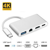 Wholesale 4k laptops - Multifunction Type c Thunderbolt to HDMI UHD K USB3 Hub Gigabit Ethernet RJ45 USB C Charging Male to Female Cable Adapter